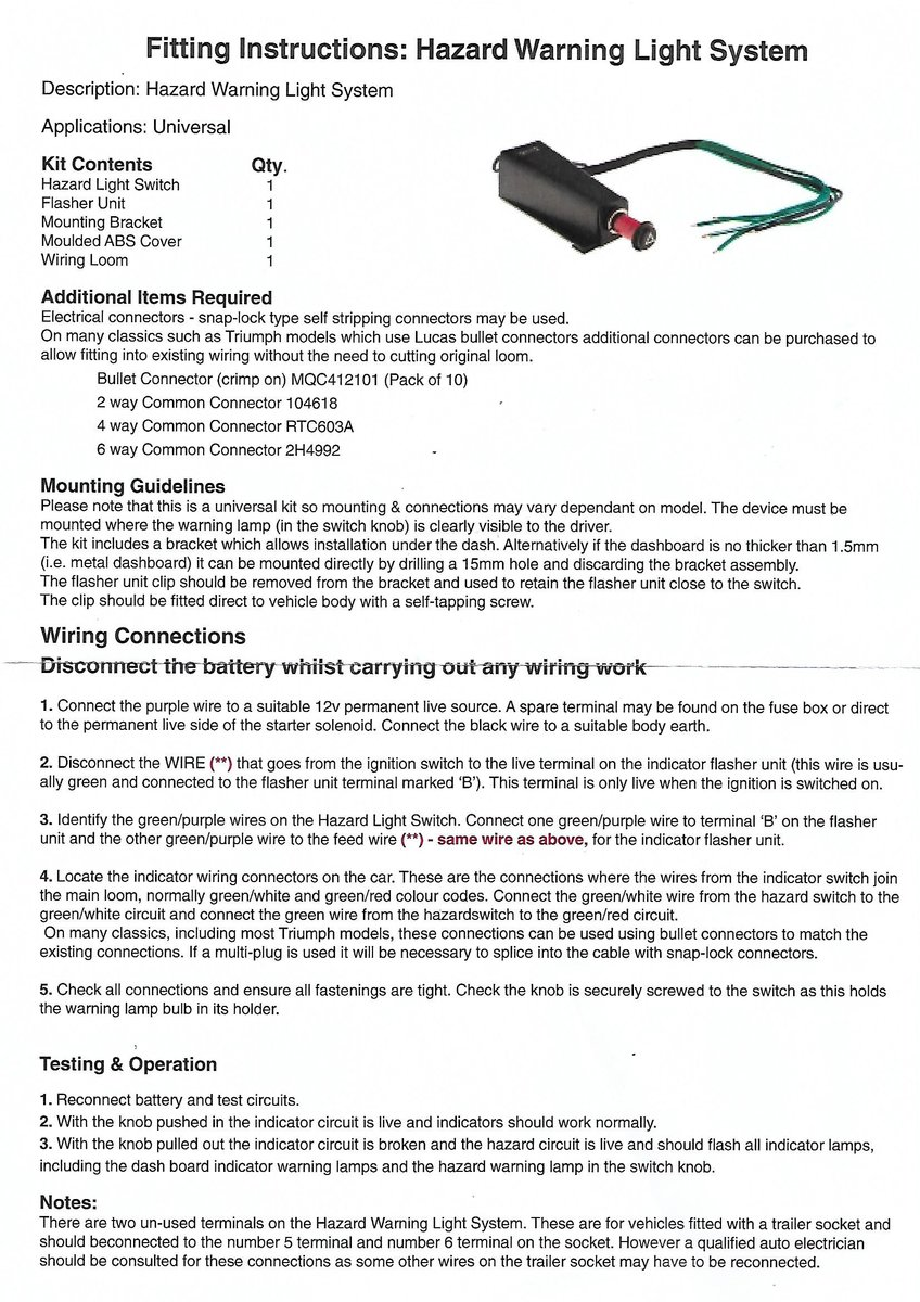 Indicator Relay Wiring For Hazard Switch On Tr4 Tr4 4a Forum Tr Register Forum