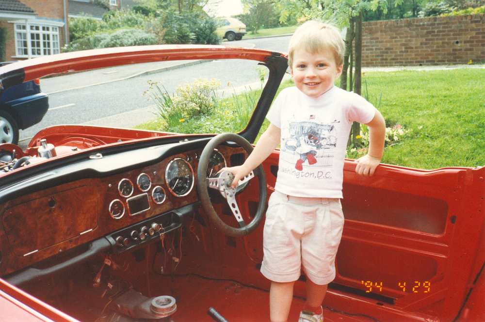 Matthew (aged 3) in TR4A.jpg