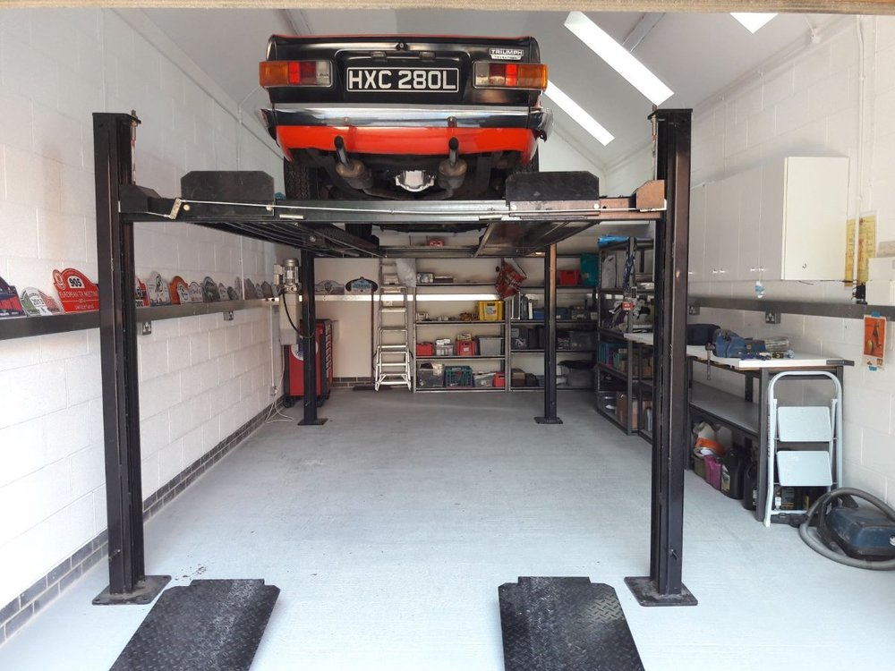Workshop, lift and TR6.jpg