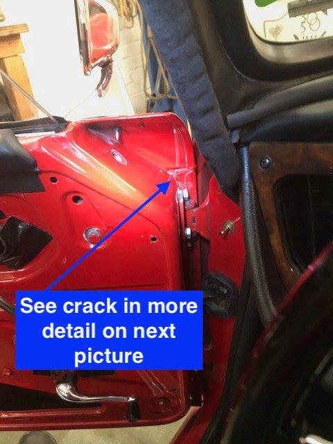 TR4A Crack in door 1.JPG