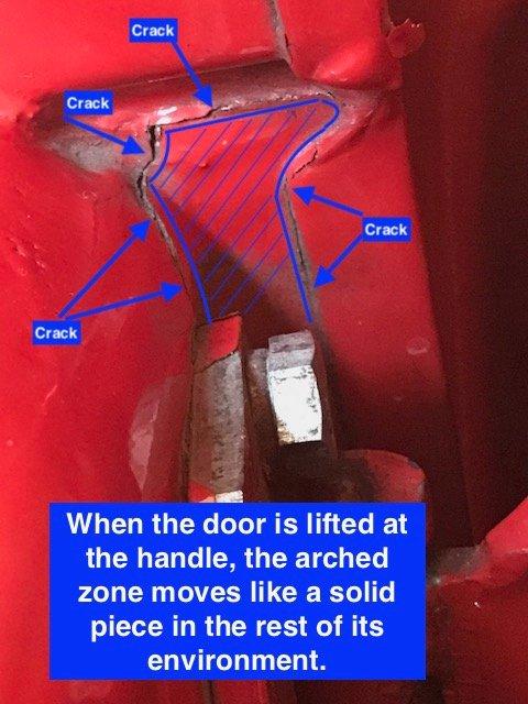 TR4A Crack in door 2.JPG