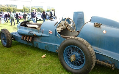 1927 Napier Bluebird. A recreation of Malcolm Campbell's land speed record car powered by a 24 litre W12 Napier Sea Lion engine with about 700hp.
