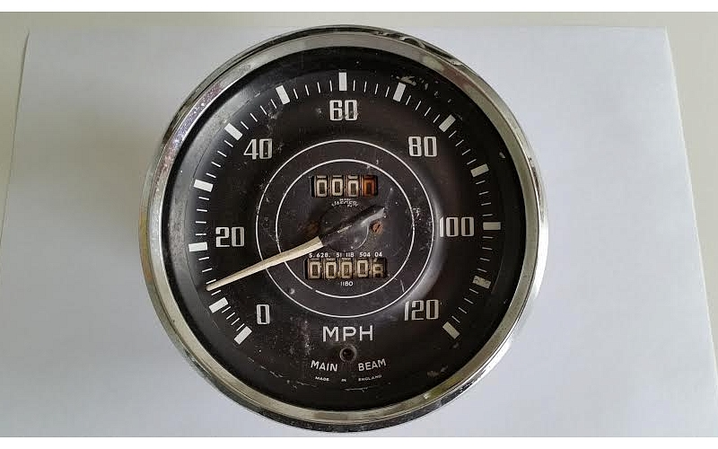 Pre-used TR3 Speedometer in MPH for restoration or parts.