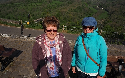 Julie and Liz raring to go at the Monsal Head Car Park