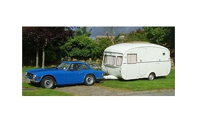 Daves TR6 and period caravan during there continental trip of France and Spain summer2007
