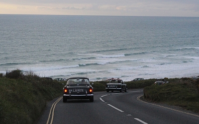The rolling coast road near Watergate Bay.
