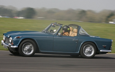 Darren's TR5 at TRR track day Castle Combe