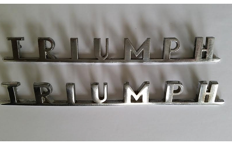 TRIUMPH badges for TR3A rear apron, can be purchased singly, wonderful patina.