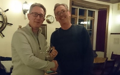 Phil Pope (right) presents Rob Isaacson with a tankard on behalf of TR Nene Valley Group.
