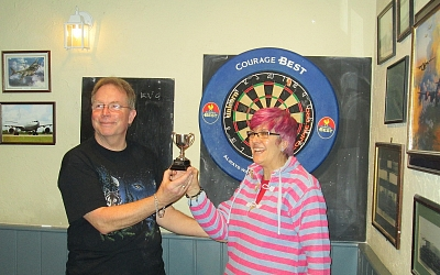 KVG's Phil Horsley presented with the cup by Glavon Group Leader Lesley Swain