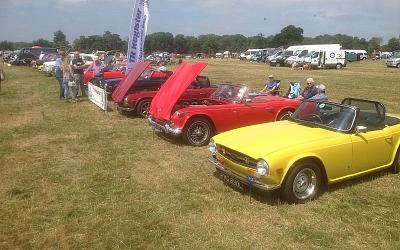 Chris Dashper Green TR6, Rob Easlea Blue TR6, Peter Hudspith Peerless, Stewart Hurrell Blue TR6, Tony Symons (Wensum) - Red TR6, Bob Bell Red TR4a, Richard Hill (Wensum) Yellow TR6.