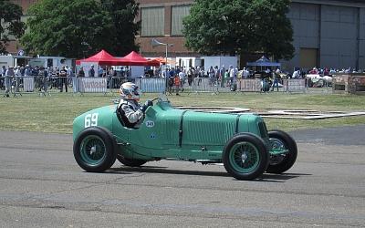 Dick Skipworth at the wheel of his ERA