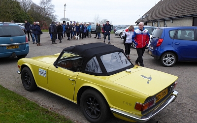 Roger McEwen's TR6 rests for a change while Roger does the hillclimbing!