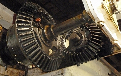 Sacrificial teeth on the larger gear wheel to prevent major damage in the event of a jam.