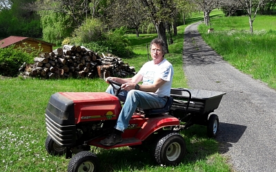 Mick takes the mower out for a spin!