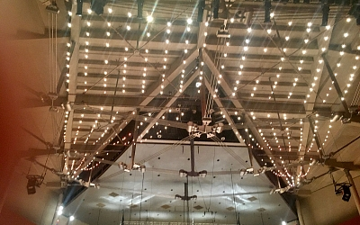 The amazing roof structure over the concert hall.