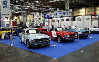 Jim's car standing proudly on the TR Register TR6@50 display stand.