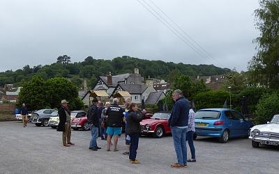 Cars assembling at The Royal Oak, Wotton-Under-Edge.