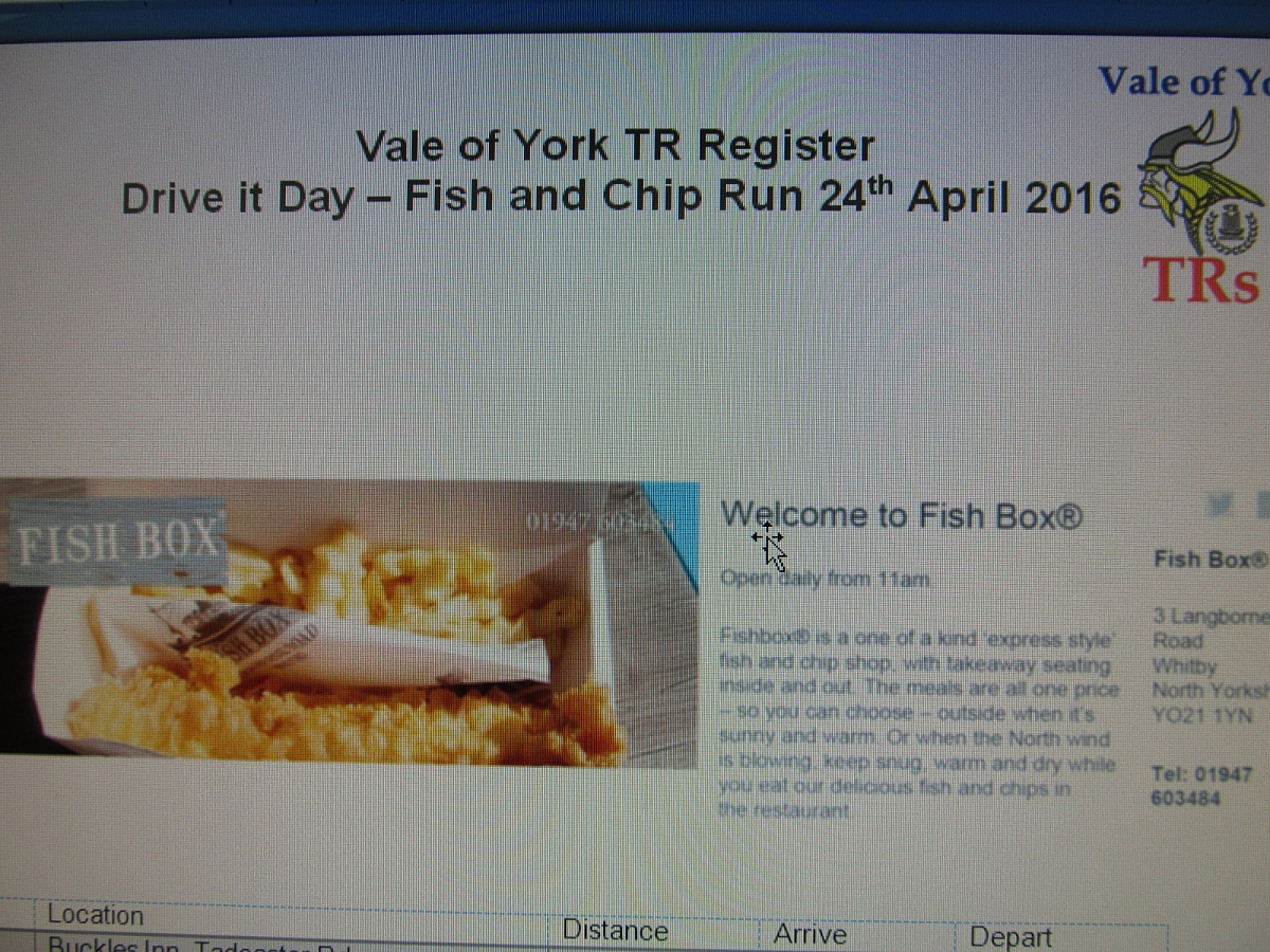 VOY Classic Day out 24th April (Fish Box Whitby)