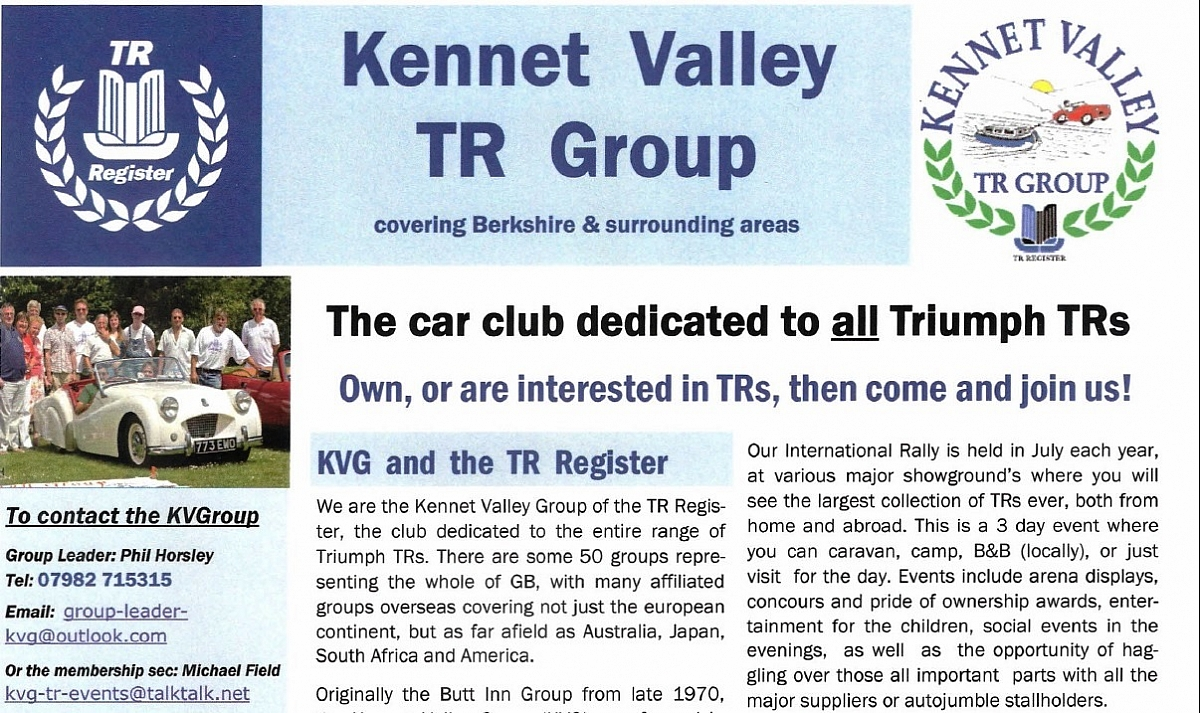 Kennet Valley TR Group publish their revamped Event Flyer