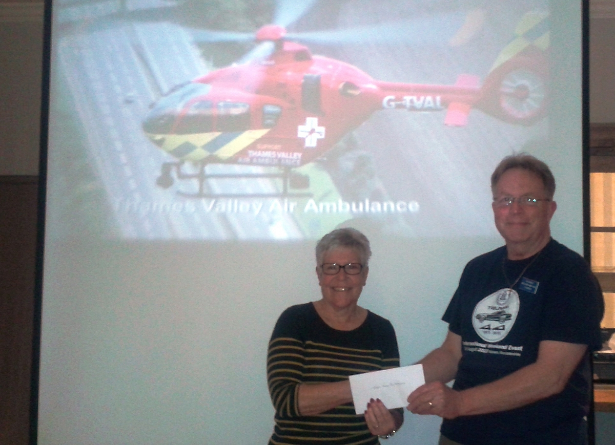 Thames Valley Air Ambulance talk to Kennet Valley TR Group who donated £150 to their funds.