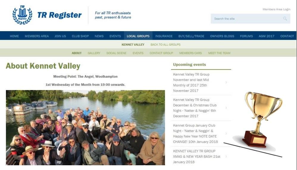 Kennet Valley TR Group Wins TR Register Website Award at AGM