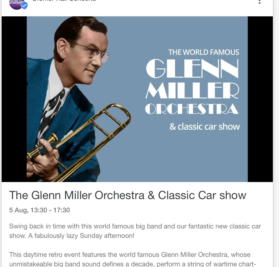 Wensum Group - Cromer Hall Classic Car & open air concert Glen Miller music orchestra.