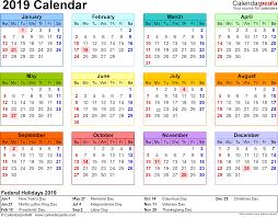 Calendar for 2019 V.4
