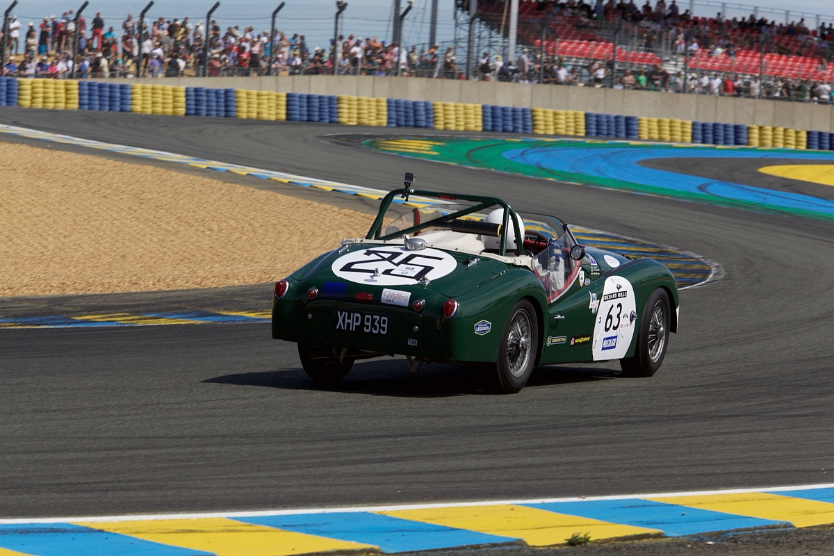 On board the Millers Triumph TR3S, for the final race and fastest lap at Le Mans Classic 2016.