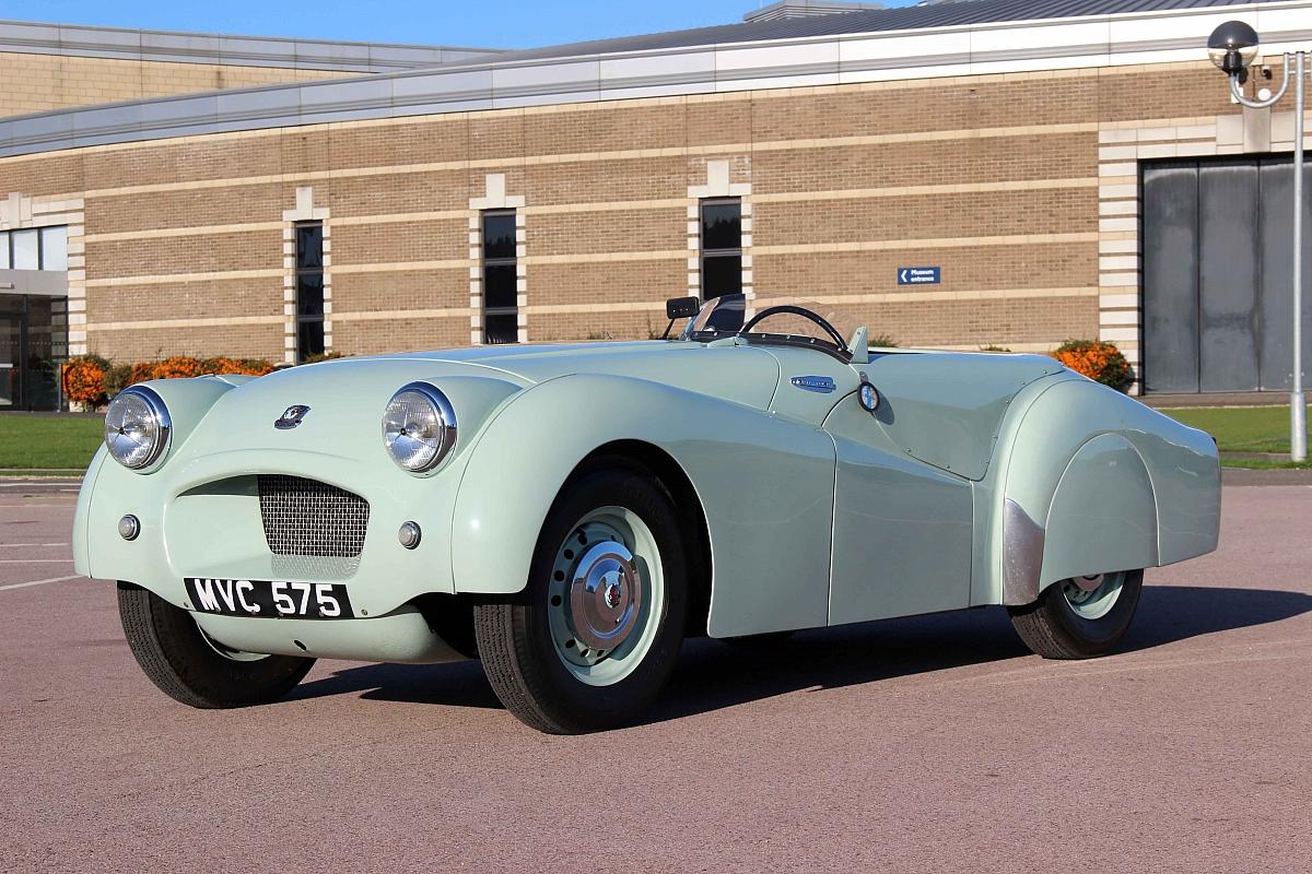 Jabbeke TR2 arrives at British Motor Museum