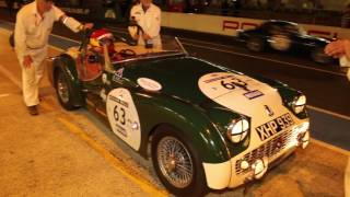 Le Mans Classic 2016 night time pitstop - Triumph TR3S