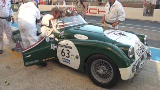 Le Mans Classic 2016 daytime pitstop and driver change - Triumph TR3S